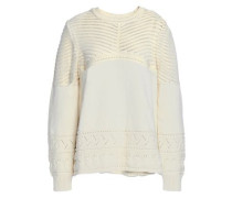 Pointelle-knit Cotton Sweater Ivory