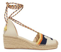 Leather-trimmed Canvas Espadrilles Navy