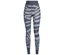 Zebra-print Stretch Leggings Gray