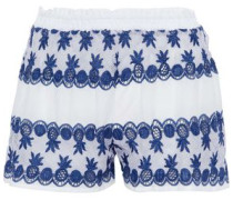 Cotton Poplin-paneled Crocheted Shorts White