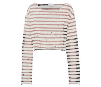 Cropped Embellished Striped Cotton-jersey Top Ivory