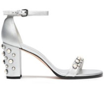Faux Pearl-embellished Metallic Leather Sandals Silver