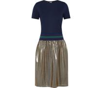 Jaylee jersey, striped stretch-knit and printed lamé dress