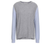 Two-tone Wool And Cashmere-blend Sweater Gray