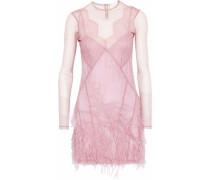 Amabella feather-embellished point d'esprit mini dress
