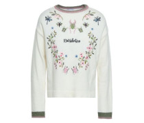 Embroidered Knitted Sweater Ivory