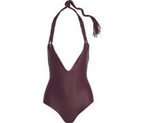 Topanga macramé-trimmed halterneck swimsuit
