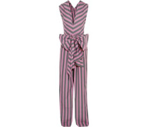 Bow-detailed striped cotton-poplin jumpsuit
