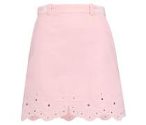 Broderie anglaise-paneled velvet mini skirt
