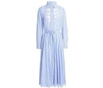 Embroidered striped cotton-poplin midi shirt dress