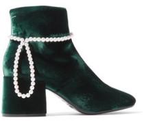 Faux Pearl-embellished Velvet Ankle Boots Emerald