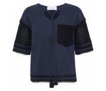 Crochet-paneled jersey top