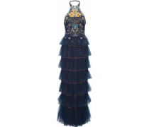 Tiered Embellished Tulle Halterneck Gown Navy Size 14