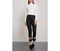 Cropped Cutout Wool-blend Twill Slim-leg Pants Black