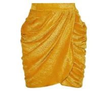 Wrap-effect Devoré-velvet Mini Dress Marigold