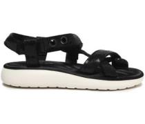 Sequined Satin Sandals Black