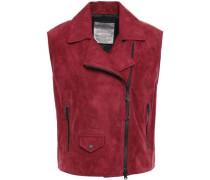 Bead-embellished Suede Vest Crimson
