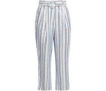 Pohana Striped Twill Flared Pants Off-white