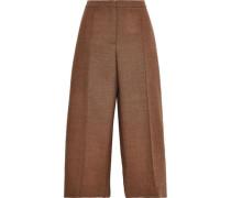 Cropped Wool-tweed Wide-leg Pants Light Brown