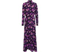 Wrap-effect Floral-print Crepe Maxi Dress Purple