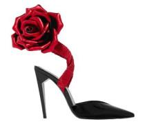 Freja Floral-appliquéd Patent-leather Pumps Black