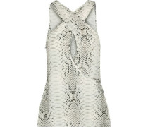 Snake-print Crepe De Chine Top Ivory