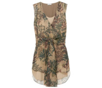 Woman Botanical Printed Chiffon Top Taupe