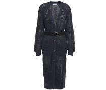 Woman Embellished Open-knit Cardigan Navy