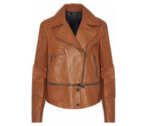 Convertible leather biker jacket