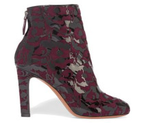 Laser-cut Patent Leather-appliquéd Suede Ankle Boots Plum