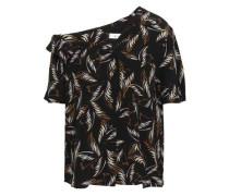 Josefine One-shoulder Printed Silk Shirt Black