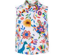 Leah printed cotton-blend blouse