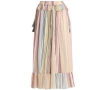 Ruffled striped cotton-gauze midi skirt