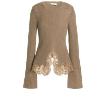 Lace-trimmed ribbed mohair-blend sweater