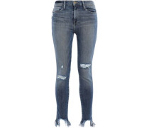 Le Skinny De Jeanne Cropped Distressed High-rise Skinny Jeans Mid Denim  3