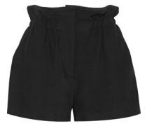 Fineti Gathered Canvas Shorts Black