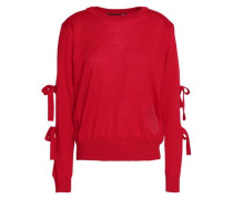 Cutout bow-embellished wool-blend sweater