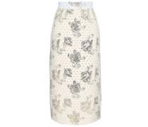 Metallic Jacquard Midi Skirt Ivory Size 12