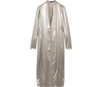 Metallic silk-satin dress