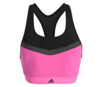 Mesh-paneled stretch sports bra