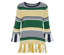 Tassel-trimmed Striped Cotton Sweater Yellow