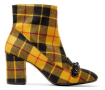 Crystal-embellished Checked Flannel Ankle Boots Marigold