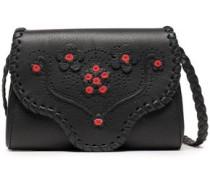 Floral-appliquéd Perforated Leather Shoulder Bag Black Size --