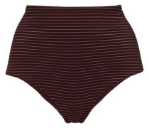 Metallic Striped High-rise Bikini Briefs Burgundy Size 0