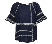 Shoffie Embroidered Cotton-voile Blouse Navy