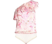 One-shoulder Ruffled Floral-print Silk-satin And Stretch-jersey Bodysuit Baby Pink