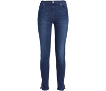Cropped Mid-rise Slim-leg Jeans Dark Denim  9