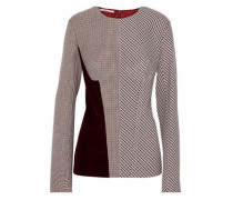 Woman Velvet-paneled Checked Woven Top Multicolor