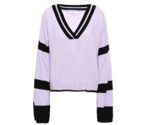 Striped Brushed-cashmere Sweater Lilac