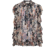 Ruffle-trimmed Floral-print Silk-georgette Blouse Pastel Pink Size 0